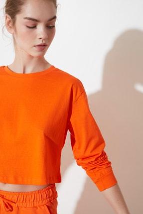 TRENDYOLMİLLA Turuncu Crop Örme T-Shirt TWOSS21TS0659 1