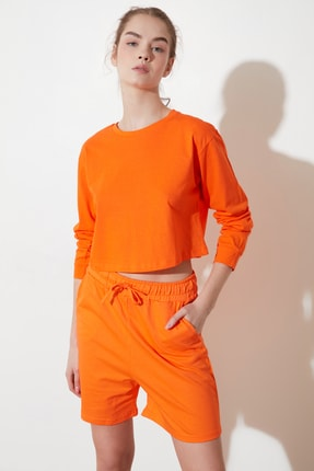 TRENDYOLMİLLA Turuncu Crop Örme T-Shirt TWOSS21TS0659 3