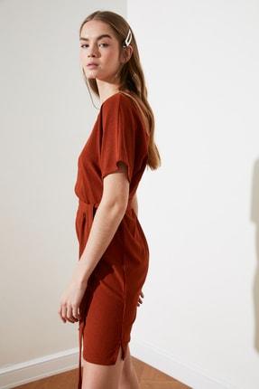 TRENDYOLMİLLA Kiremit Bağlama Detaylı Örme Elbise TWOSS21EL2015 2