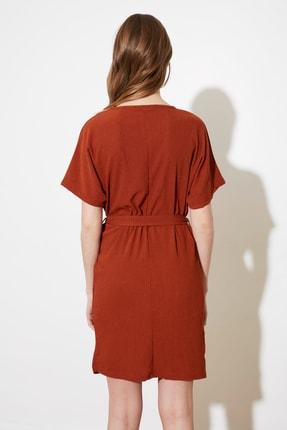TRENDYOLMİLLA Kiremit Bağlama Detaylı Örme Elbise TWOSS21EL2015 4