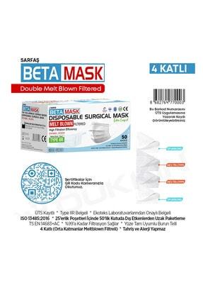 SARFAŞ Beta Mask Beyaz ÜTS Kayıtlı 4 Katlı  Meltblown Filtre Cerrahi Maske 100 Adet 3