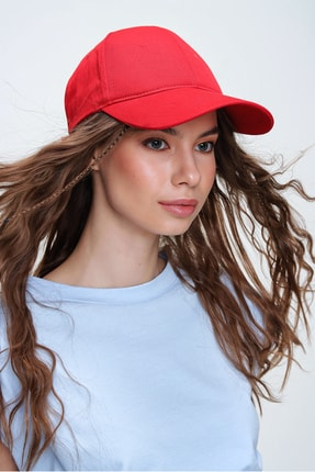 Trend Alaçatı Stili Kadın Kırmızı Unisex Şapka ALC-A2160 0