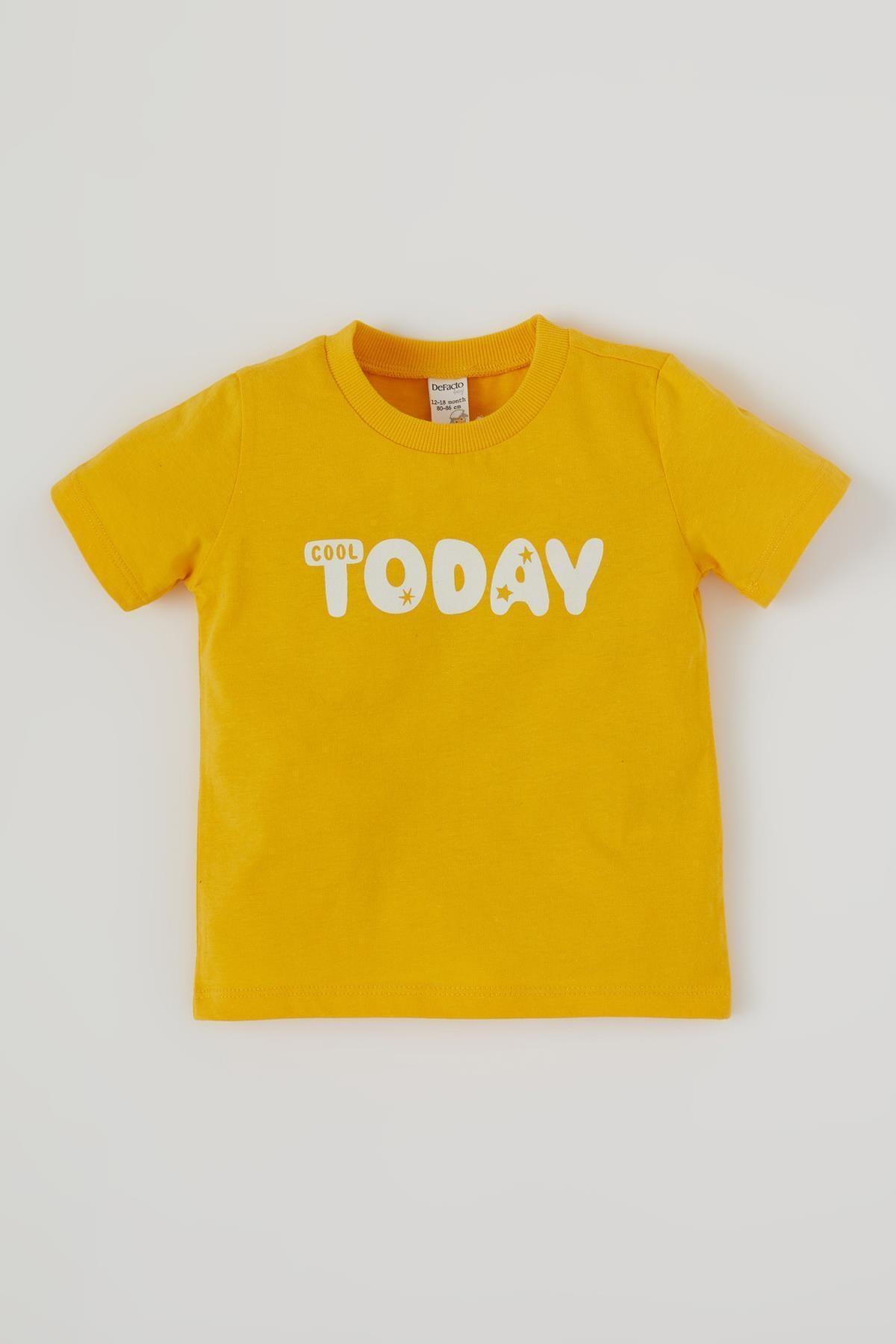 Defacto Erkek Bebek Yazı Baskılı Kısa Kol Pamuklu Tişört