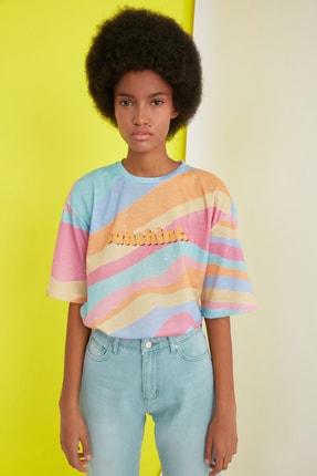 TRENDYOLMİLLA Çok Renkli Loose Örme T-Shirt TWOSS21TS0910 2