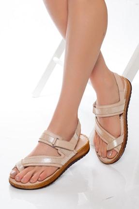 Deripabuc Hakiki Deri Bej Kadın Deri Sandalet Dp05-s003 1