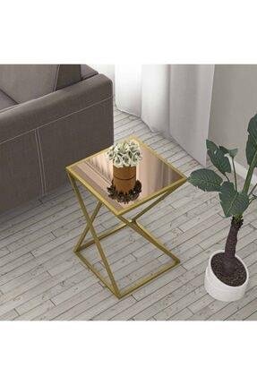 tino furniture Home Star Gold Yan Sehpa Bronz Aynalı Metal Ayaklı Yan Sehpa 1