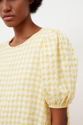 TRENDYOLMİLLA Sarı Kareli Balon Kollu Elbise TWOSS21EL1570 4