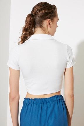 TRENDYOLMİLLA Beyaz Polo Yaka Fitilli Örme Bluz TWOSS21BZ1142 4