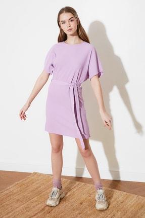 TRENDYOLMİLLA Lila Bağlama Detaylı Örme Elbise TWOSS21EL2015 3