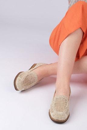 Marjin Toliva Kadın Örgü Hasır Loafer Ayakkabıbej 1