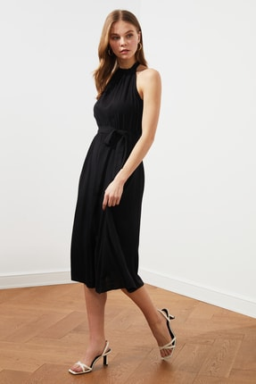 TRENDYOLMİLLA Siyah Kuşaklı Elbise TWOSS19EL0155 0