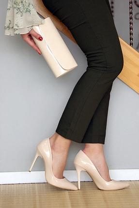 WMİLANO Kadın Ten Rugan İnce Topuklu Ayakkabı Çanta Takım 1