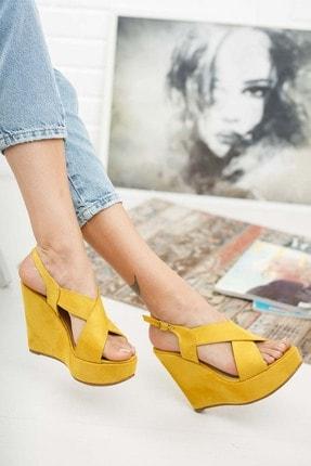 Ayakkabı Ateşi Hardal Rengi Çapraz Yandan Ayarlanabilir 12cm Dolgu Topuklu Ayakkabı 2