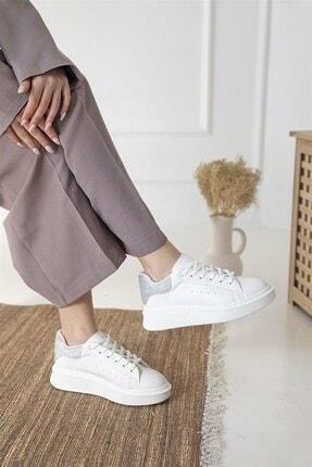 Straswans Kadın Beyaz Gümüş Huws Sim Detay Spor Ayakkabı 0