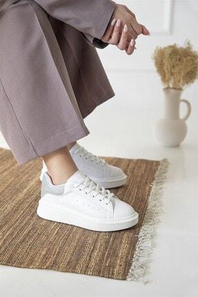 Straswans Kadın Beyaz Gümüş Huws Sim Detay Spor Ayakkabı 1