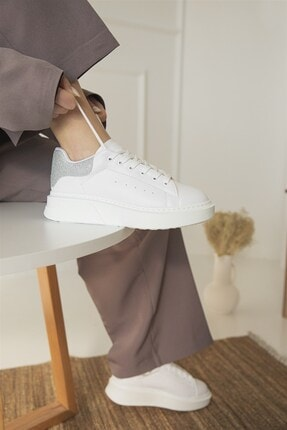 Straswans Kadın Beyaz Gümüş Huws Sim Detay Spor Ayakkabı 3