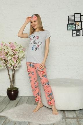 Little Hopes Kadın Gri  Somon Kısa Kollu Çiçek Desenli Pijama Takımı 1