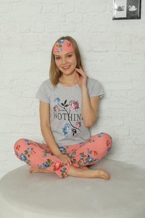 Little Hopes Kadın Gri  Somon Kısa Kollu Çiçek Desenli Pijama Takımı 2