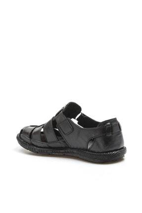 Fast Step Hakiki Deri Siyah Erkek Klasik Sandalet 819MA025 2