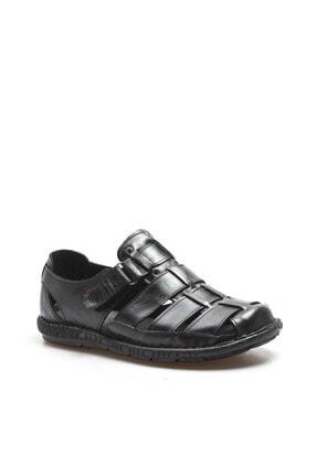 Fast Step Hakiki Deri Siyah Erkek Klasik Sandalet 819MA025 3
