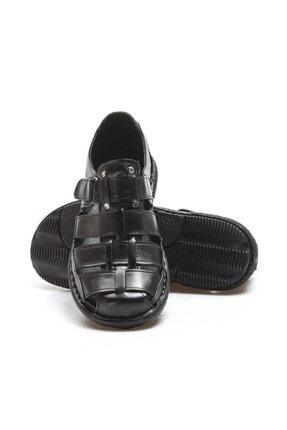 Fast Step Hakiki Deri Siyah Erkek Klasik Sandalet 819MA025 4