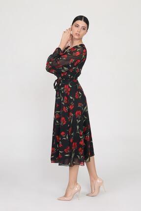 Ceylen Kadın  Siyah Kruvaze Yaka Kollu Midi Şifon Elbise 1