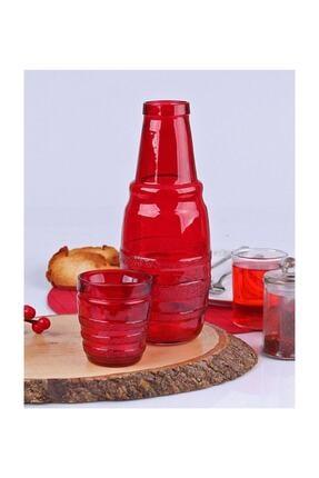 Homekolik Kırmızı Cam Başucu Bardaklı Sürahi 0