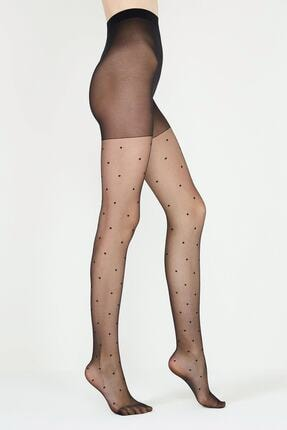 Penti Stil Puantiyeli Külotlu Çorap | Siyah 0