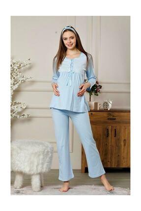 ALİMER Kadın Mavi Hamile Lohusa Pijama Takımı 3 Parça 0