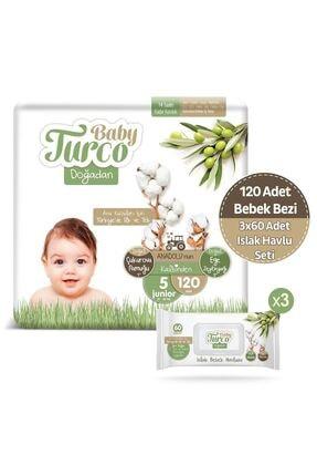 Baby Turco Doğadan 5 Numara Junıor 120 Adet + 3x60 Doğadan Islak Havlu 0