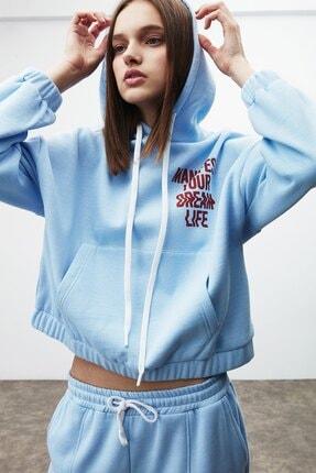 GRIMELANGE CHAYA Kadın Mavi Önü ve Arkası Baskılı Kapüşonlu Sweatshirt 4