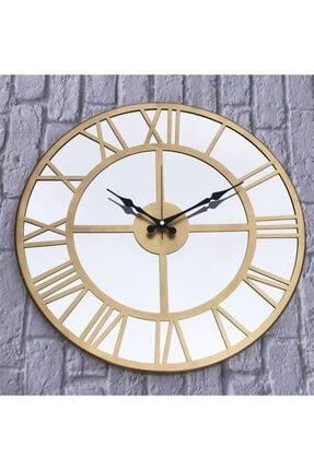 Markakanvas Aynalı Metal Duvar Saati Altın Çap 50 cm 0