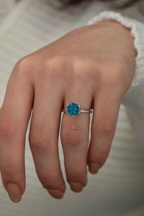 Ervanur Gümüş Kaplama Akuamarin Mavi Zirkon Taşlı Lotus Çiçeği Kadın Yüzük 2