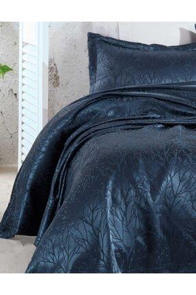 Elart Yatak Örtüsü Takımı Çift Kişilik Jakar Şönil Kumaş Mucize Lacivert 1