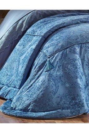 Elart Yatak Örtüsü Takımı Çift Kişilik Elyaf Dolgulu Kadife Life Mavi 1