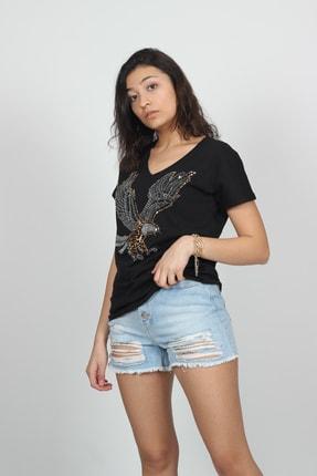 AlpinTeks Kadın Siyah V Yaka Kartal Baskılı Taş İşlemeli T-shirt 1