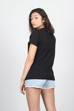 AlpinTeks Kadın Siyah V Yaka Kartal Baskılı Taş İşlemeli T-shirt 4