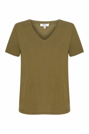 İpekyol Kadın Haki V Yaka Basic T-shirt 0