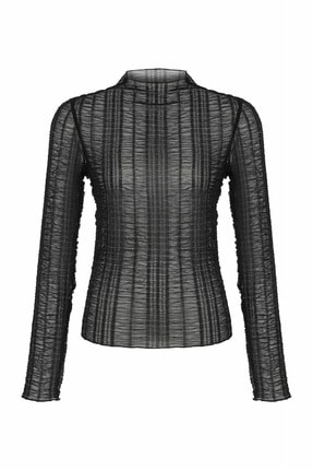 İpekyol Kadın Siyah Büzgülü Bluz  IW6200070068 1