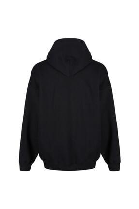 FAVORİZADE Ünisex Siyah Earth Baskılı Kapüşonlu Sweatshirt 1