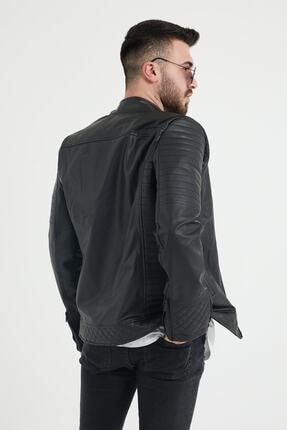 Densmood Slim Fit Yaka Ve Kol Detaylı Siyah Deri Ceket 2