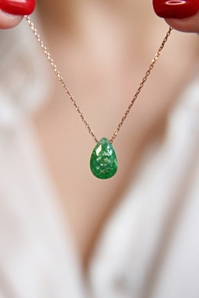 Argentum Concept Yeşil Simli Kristal Taşlı Gümüş Zincirli Kolye - N164901 0