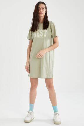 Defacto Slogan Baskılı Slim Fit Mini Tişört Elbise 1