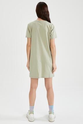 Defacto Slogan Baskılı Slim Fit Mini Tişört Elbise 3