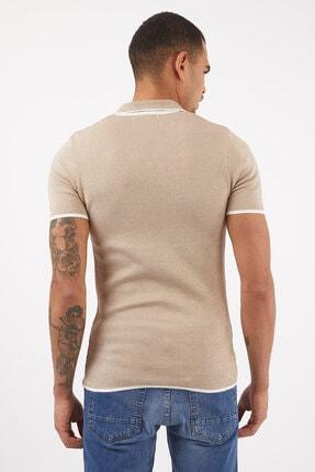 LAGOS Erkek Toprak/ekru Slim Fit Geometrik Desenli Polo Yaka Pamuklu Triko Tişört 3