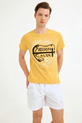 Fullamoda Erkek Sarı Bisiklet Yaka Freedom Baskılı Tshirt 1