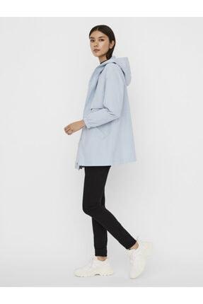 Vero Moda Kadın Mavi Kapüşonlu Beli Büzgülü Mevsimlik Mont 4