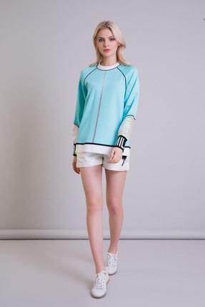 GIZIA Hologram Bilek Detaylı Turkuaz Renk Sweatshirt 1