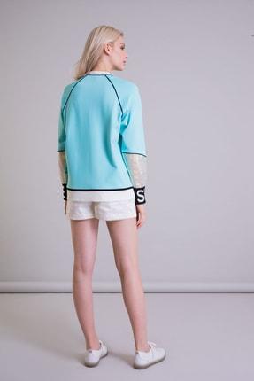 GIZIA Hologram Bilek Detaylı Turkuaz Renk Sweatshirt 2
