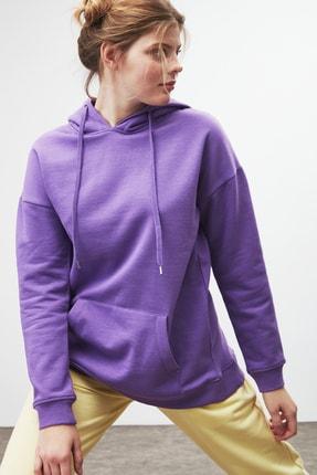 GRIMELANGE JANE Kadın Mor Basic Kapüşonlu Sweatshirt 4